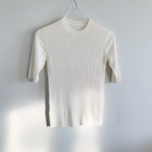 THAKOON Sweater Merino Wool Ribbed Knit Ivory S